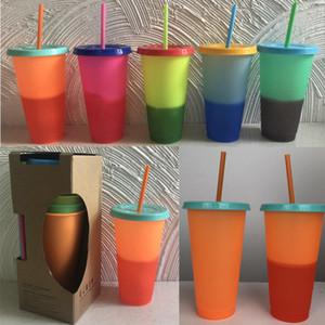 5 teile / satz 24 unze trinkglas Farbwechsel Tasse Thermochrome tasse farbwechsel PP Trinkbecher mit deckel und stroh kaffeetassen