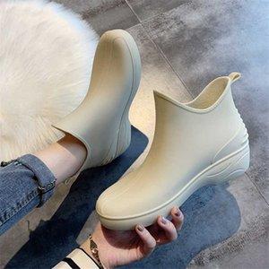 дождь лето осень Комфортная непромокаемая обувь JIANBUDAN мода дождь сапоги ПВХ водонепроницаемых ботильоны для женщин 35-40