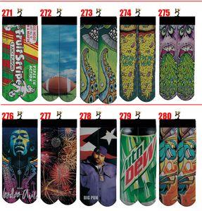 Popüler tasarımcı 3d çorap erkek kadın çocuk pamuk baskılı kalça hop çorap Özel tasarım çorap 100pcs = 50pairs kaykay