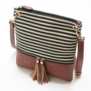 Femmes cuir pompons sac à bandoulière rayé PU bandoulière lambrissé Messenger Bag Sacs à main Enveloppe LJJA3802