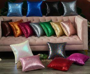 16 couleurs Paillettes Taie Glitter sirène taies d'oreiller Coussin carré Case Canapé Home Décoration de Noël de mariage GGA3214