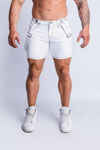 Shorts Slim Fit meio comprimento rasgado Hiphop Shorts Mens Verão desiger Jeans Branco
