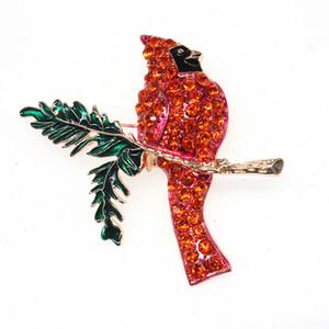 Venta al por mayor más barato strass rojo aceite de esmalte verde cardenal pájaro animal del colibrí pin broche de joyería de accesorios