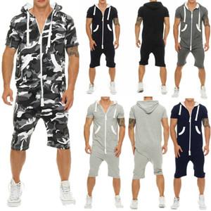 Erkekler Jumpsuit tulumları Yaz Casual Kısa Kollu Erkek Fermuar Sportwear tulumları Şort Romper elbise kazak