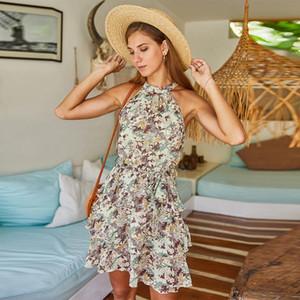 Foridol stampa floreale chiffon Abito corto Summer Dress Bohemian Ruffle Halter maniche Beach Sundress per le vacanze 2020