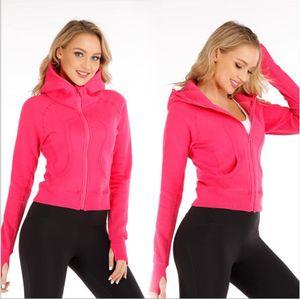 New Fuchsia LU-MN Frauen Yoga Jacke Mädchen Hemden Damen Yoga Outfits Adult Sport Übung Fitness Wear Langarm mit Zipper Lauf