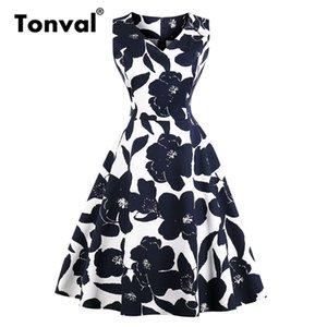Tonval Rockabilly Vintage Lacivert Çiçek A Hattı Elbise Kadınlar V Yaka Pamuk Günlük Elbise 2019 Retro Yaz