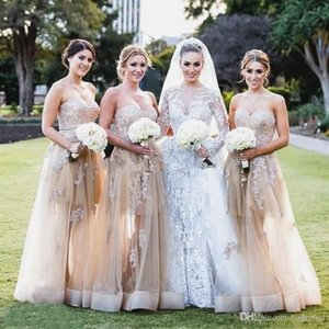 2020 Новое Champagne Country Bridgesmaid Dockenes Sweetheart Appliques A Line Sweep Train Formate Wedding Guest Press Dress Hand of Change Custom