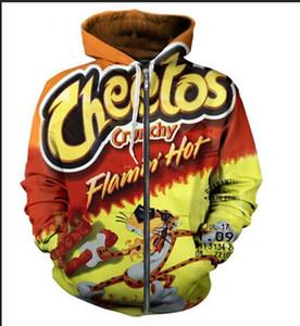 موضة جديدة للجنسين البلوز هوديس الرجال النساء الساخن Cheetos بلوزات المتناثرة المتضخم زيبر ملابس سترات