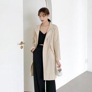 Desinger Trench lungo Sleee risvolto collo solido di colore femminile Abbigliamento casual Ol SytleOuterwear Womens autunno