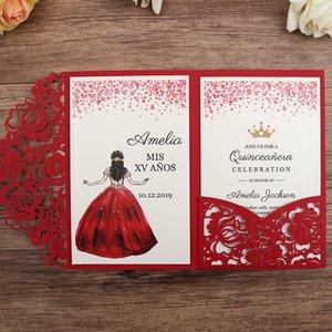 Rose Ivory Красный синий свадебные приглашения, Лазерная резка Брак Приглашение, DIY Лазерная резка Сладкий Пятнадцать Предлагает с RSVP карты