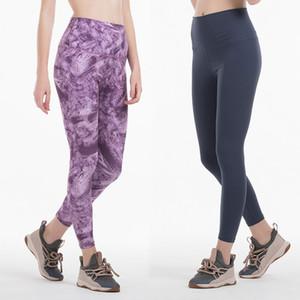 LU Женские брюки высокая талия спорт тренажерный зал носить леггинсы эластичный фитнес леди тренировки сплошной цвет йога брюки дизайнер леггинсы размер XS-XL