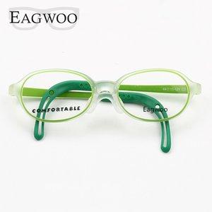 Eagwoo silicone macio óculos Crianças Optical Frame menina de Little Boy Óculos Templo com verde da corda ajustável