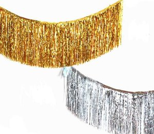 Gold Foil Fringe Curtain Tinsel String Shiny Shimmer Tassel Wedding Decoration Photo Booth Backdrop 35*120cm 50pcs