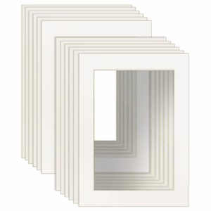 12 Pcs White Picture Mats with Core Bevel Cut Frame Mattes for 4x6 5x7 8x10 8.5x11 inch Pictures Frame Decoration