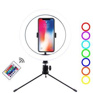 10 بوصة LED RGB الدائري المكتب ضوء لايف فيديو ستوديو ماكياج ملء ضوء الصور الشخصية للحلقة مصباح مع ترايبود حامل الهاتف