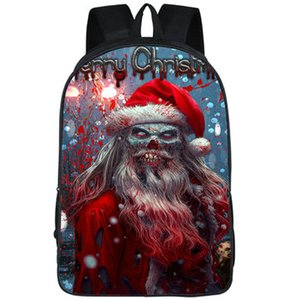 Demon backpack Father Christmas daypack Santa Claus devil schoolbag Cool print rucksack Sport school bag Outdoor day pack