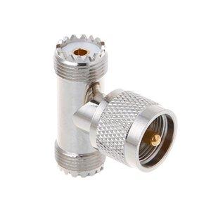 T-shape UHF Male PL259 To 2 UHF Female Adapter