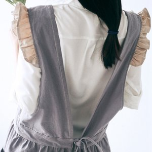 105Cm Retro Ruffled Cotton Linen Apron Female Ladies Sleeveless Adult Work Other Housekeeping Organization