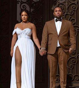 2020 Brautkleider Side Split Chiffon- Schatz Boho vestido de novia African Beach Brautkleid