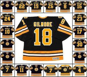Masculinas 18 Happy Gilmore Boston Bruins 19 NORMAND Leveille 22 BRAD PARK 26 MIKE Milbury Janney gelo preto CCM Vintage Hockey Jersey