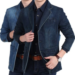 Fashion Mens Denim Jackets Spring Autumn large size Fit jean suit coat Male Solid color Casual Blazer New Brand outerwear M-4XL