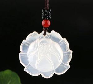 Natural Ice Seed Weiß Chalcedon Lotus Anhänger Achat Kristall Lotus Jade-Anhänger Frauen-Strickjacke-Ketten-Halsketten-Anhänger Großhandel