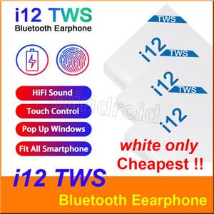 i12 TWS Touch Auriculares inalámbricos Auriculares Bluetooth V5 dobles Auriculares estéreo estéreo Auriculares inalámbricos con control táctil Siri más barato 200pcs