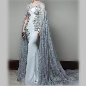 Zarif Gelinlik Modelleri Uzun Dantel Ceket / Sarar Jewel Aplikler Boncuk Mermaid Abiye giyim Sweep Tren Geri Fermuar Afrika Parti Elbise