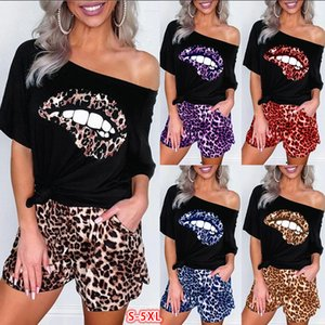 short sleeve T Shirt shorts two pieces Women summer new slimming students versatile high jump bodice leopard printed stretch bottom shirt