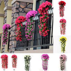 Violeta da parede da flor Artificial Hanging Simulação Violet Orchid Falso Festa de casamento Flores Vine Silk Início Jardim Varanda Decoração