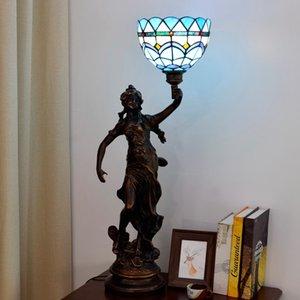 Lampada da tavolo tiffany creativa europea Semplice mediterraneo blu Bianco Bianco Desk Lampada Baroque Stile Punto di vista in vetro colorato