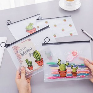 Folder Cactus unicorn PVC pencil case file folder documents filling bag office school suppllies stationery bag