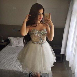 Sparkling Beaded Rhinestone Homecoming Dresses Sweetheart Sleeveless Graduation Party Bride Gowns A Line Short Tulle Bridesmaid Dress
