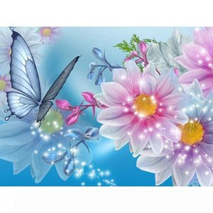 Butterfly and Flower DIY Diamond Painting Embroidery 5D Cross Stitch Crystal Square Home Bedroom Wall Art Decoration Decor Craft Gift