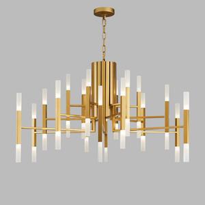 Nordic posmoderno LED Arte Villa Chandelier Sala de estar Lobby Restaurante Gold Chandelier Creativo Personalidad Tubo Luces
