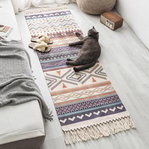Big Size Retro nappa Cotone e Lino Tappetino Camera geometrico handmade marocchino grande tappeto Area Rugs Per Soggiorno