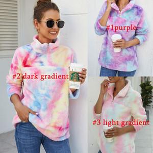 Le donne Gradient Pullover Sherpa colorato felpa a maniche lunghe Zip Fleece peluche tie-dyed Outwear il cappotto con cappuccio Arcobaleno Tops Giacche C102105