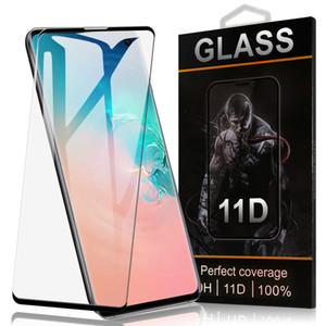 No Hole Curvo Caso Tela amigável Protector Para Galaxy S10 Além disso Nota 10 Note9 vidro temperado filme protetor de iPhone para 11 Pro in Retail Box