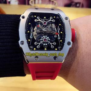 Высокое качество RM 27-01 Nadal Skeleton циферблатом Япония Miyota Автоматические Мужские RM27-01 Часы Серебристо 316L Стальной корпус красный резиновый ремешок Спортивные часы