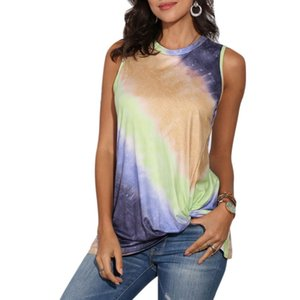 Women Sleeveless Tank Top Gradient Tie-Dye Twisted Knot Front Loose Tunic Shirts 63HC