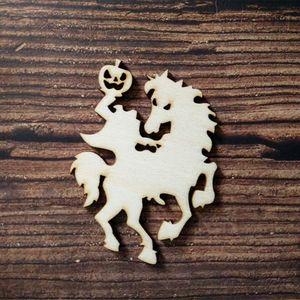 50pcs Halloween Party Decor Horse With Pumpkin Shape Tag Embellishment Scrapbooking Wood Tags Halloween DIY Wooden Art Craft