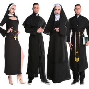 Medievali Cosplay di Halloween per le donne prete suora missionaria Costume Set 2018 adulti Cosplay Abbigliamento Donna Dress