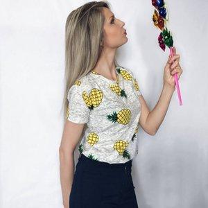 Manica corta Moda Donna Lady T-shirt Top girocollo in cotone gelato di frutta Tee Abbigliamento casual Stampa Poliestere Abbigliamento S-XL