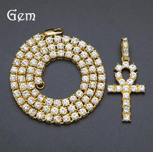 Bling para hombre hacia fuera helado Ankh egipcio clave de oro colgante collar de Hip Hop pedrería de cristal Cuban Link cadena Hip Hop collar de la joyería de los hombres