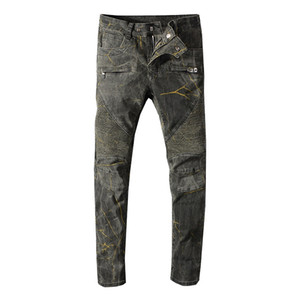 Balmain Jeans verde argento Uomo Jeans da motociclista hip-hop Jeans a righe in cotone Jeans da uomo futuri Pantaloni casual da uomo