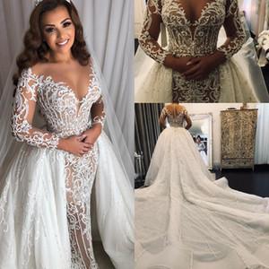 Manga comprida Médio Oriente Sereia Vestidos de Noiva com Overskirt Destacável Trem Laço Sparkly Beaded Arábico Princesa Vestido de Casamento