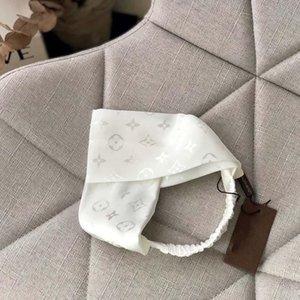 2020 di lusso caldo L Lettera Stampa Band Hairband di seta bianca Weave fascia elastica delle donne Croce Capelli Classic Stampato Sciarpa Turbante headwraps