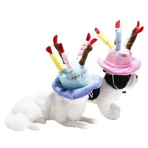 Pet köpek kedi doğum günü pastası şapka Ayarlanabilir Kadife Renkli Mumlar köpek doğum günü partisi kostüm headdress Evcil hayvan bakım ürünleri