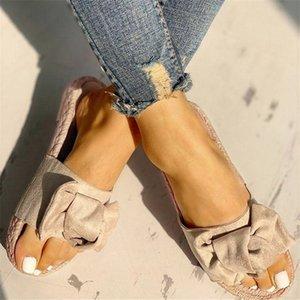 Puimentiua Women Slippers Bow Summer Sandals Indoor Outdoor Linen -flops Beach Women Shoes Female Flat Sandals Drop shipping